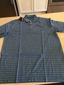 NWT Tiger Woods Nike FIT DRY Polo Shirt XXL $75 Blue White Stripes Cotton Blend