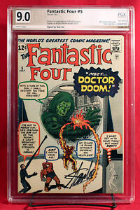 FANTASTIC FOUR #5 (1962) PGX 9.0 VFNM 1st DOOM signed by writer STAN LEE! +CGC!