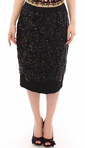NWT $8000 DOLCE & GABBANA Black Crystal Handmade Knee Pencil Skirt s. IT42  US8