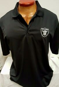 OAKLAND RAIDERS TEAM NFL BLACK DRI FIT MENS  COOL BASE POLO SHIRT NEW  PICK SIZE