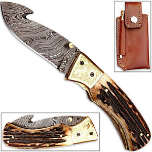 Forged Damascus Folding Knife Guthook Deer Stag Handle Engraved Brass Bolstering