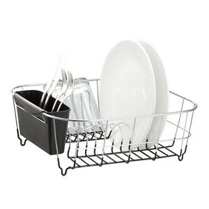 Kitchen Steel Over Sink Dish Drying Rack with Cutlery Holder Drainer Organizer $18.87