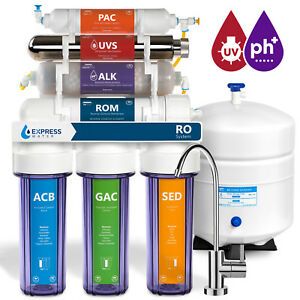 11 Stage Reverse Osmosis Water Filtration System UV Ultraviolet Alkaline Clear $259.99