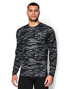 Under Armour Mens UA ColdGear Armour Printed Crew X-Large Black