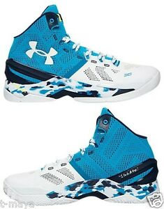 UNDER ARMOUR CURRY 2 BASKETBALL SHOE ELECTRIC BLUE - WHITE - MIDNIGHT NAVY SIZE