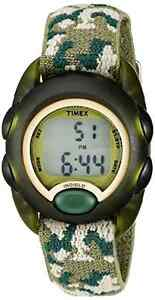 Timex Kids T71912 Green Camouflage Digital Watch with Elastic Fabric Strap New