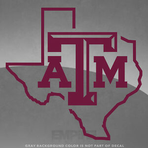 Texas Aamp;M Aggies State Vinyl Decal Sticker 4quot; and Up