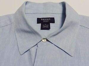Brooks Brothers Brooks Sports Linen Shirt Blue Short Sleeve Button Down Size L