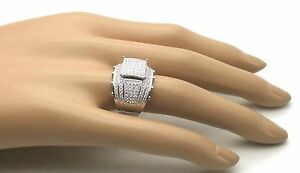 Women's Ladies Female Solid Real 925 Sterling Silver Cubic CZ Promise Ring Wide