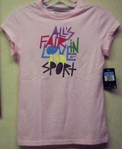 NIKE Girl's T-shirt Large Medium Pink  All's Fair in Love and Sport