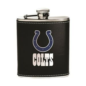 Indianapolis Colts NFL Flask - Leather Wrapped Stainless Steel Team Color Logo