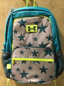 NWT Girls Under Armour Great Escape Backpack Dark Aqua Gray & Neon Yellow