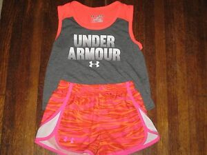 Under Armour Girls Athletic Shorts Shirt Outfit (Lot of 2) Size S  M Youth GUC