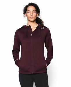 Under Armour Womens UA ColdGear Infrared ISA Full Zip Hoodie Small Ox Blood