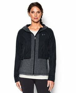 Under Armour Womens UA ColdGear Infrared Hybrid Full Zip Hoodie Small Black
