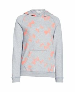 Under Armour Girls Kaleidelogo Hoody True Gray Heather  After Burn  After Burn