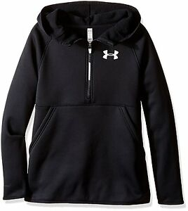 Under Armour Girls Armour Fleece 12 Zip Hoodie Black 001 Youth Small
