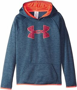 Under Armour Girls Armour Fleece Printed Big Logo Hoodie Mechanic Blue 467
