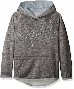 Under Armour Girls Armour Fleece Novelty Jumbo Logo Hoodie Stealth Gray 008