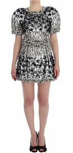 NWT $32000 DOLCE & GABBANA Dress Crystal Silver Runway Handmade IT40  US6  S