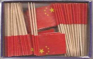 LOT OF 3 BOXES China Toothpick Flags, 100 Chinese flag toothpicks per box