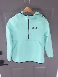 Under Armour Storm Armour Fleece Hoodie (Big Girls)- Large- Crystal (mint Green)