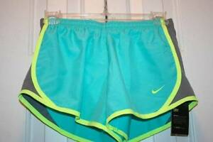 Girl's NIKE Green Gray and Yellow Running Dry-Fit Shorts Size-YM-New With Tags