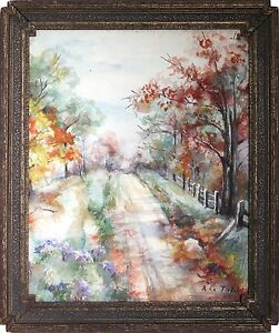 Charming American 20th Century Watercolor Wooded Landscape Signed A C. Tubbs