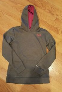 Girls Youth Large Under Armour Storm Cold Gear GrayPink Logo Sweatshirt Hoodie