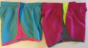 2 NIKE Girls 5K Tempo Gym Active Running Shorts 624411 Blue Pink Youth Sz Medium