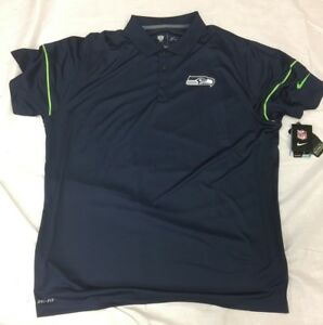 NEW NWT Seattle Seahawks Nike Dri Fit Navy Team Issue Polo Shirt 3XL