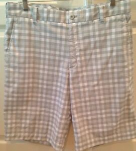NIKE GOLF Dri-Fit checked gray & white golf shorts men's size 33