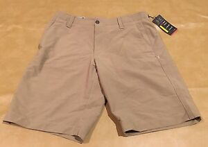 NWT Under Armour UA Golf Men Heat Gear Shorts New Beige Tan Size 34