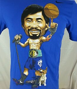 VERY RARE Nike S Small Manny Pacquiao Basketball Dog DriFit Blue Graphic T-Shirt