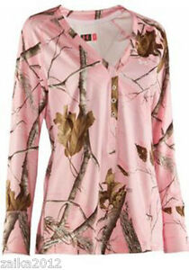 Under Armour Camo Womens Henley Shirt Sz S Cold Gear Realtree Pink NWT $65 Sale