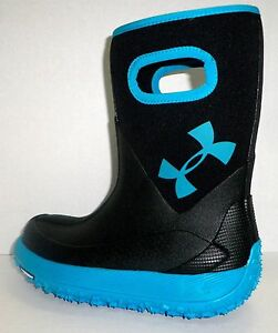 UNDER ARMOUR Youth Boys Girls Fat Tire Waterproof Rubber Boots Michelin BLK 4 Y
