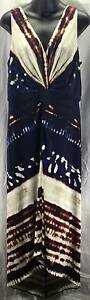 Suzi Ching for Maggy Boutique Dress 14 Large Blue Beige Purple Womens 5284