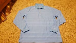 Nike Golf Fit Dry mens blue long sleeve polo shirt size S NWOT