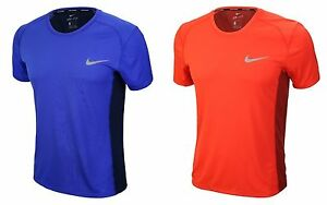 Nike Men Dri-fit Miler Jersey Shirts Running Red Blue SS Tee Shirt GYM 833592