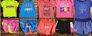 GIRLS SIZE 4 * UNDER ARMOUR * SHORTS * T-SHIRTS * HUGE LOT UNDER ARMOUR $207