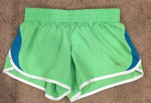 Girls Nike Dry Fit Shorts Size L Green Running Sports Workout Spring Summer EUC