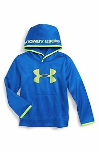 Under Armour Little Boys Pullover Highlight Hoodie Royal Fuel Green Size 5