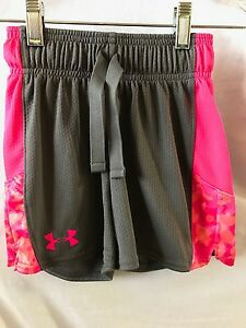EUC Girl's UNDER ARMOUR Athletic Loose Shorts GrayBright Pink XS