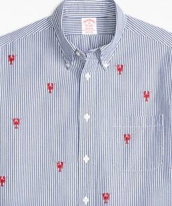 Brooks Brothers - Men's - Madison Fit Seersucker with Lobsters Sport Shirt - S