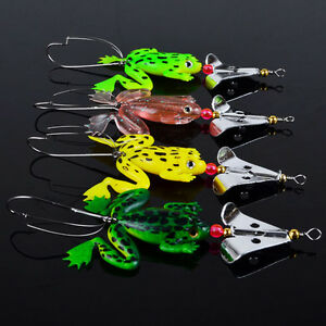 4PcsLot Soft Rubber Frog Bass Bait Spinner lures CrankBait Tackle Fishing Lures