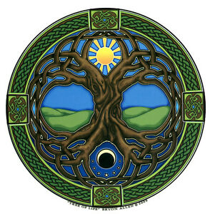 A392 Tree of Life Art Decal Window Sticker Celtic Mandala Sun Meditation decal