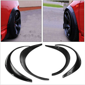 4PCS Black Polyurethane Flexible Exterior Fender Flares For Car Professional