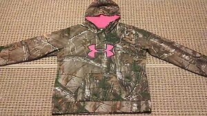 UNDER ARMOUR REALTREE CAMOFLAUGE BIG PINK LOGO WOMENS HOODIE Size 2XL