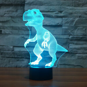 Dinosaur 7-color USB 3D Illusion LED Acrylic Night Lights Touch Switch Desk Lamp