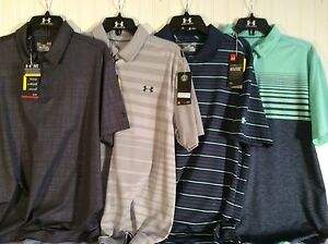 NWT UNDER ARMOUR HEAT GEAR LOOSE GOLF POLOS SIZE LARGE 4 SHIRTS FOR $129.99